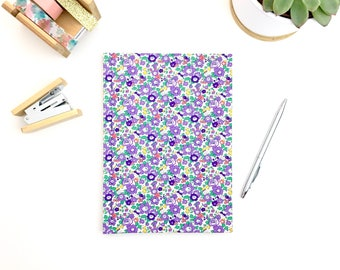 Journal, A5 hardback, liberty print notebook with lined pages, stationery, workbook