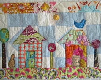 New Houses in an Old Neighborhood Art Quilt