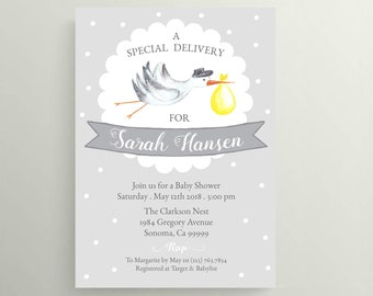 Neutral Gray & Yellow Stork Baby Shower Invitation . Printed . 4x6 or 5x7