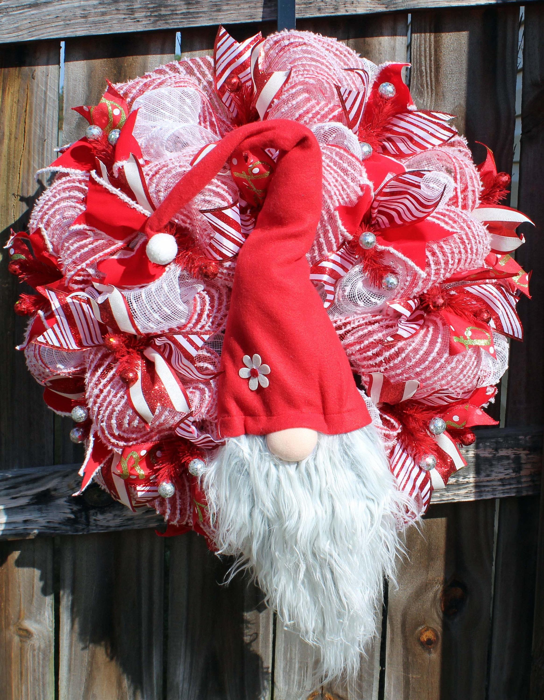 Gnome Wreath Christmas Gnome Wreath Red and White Gnome