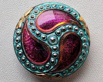 CZECH GLASS BUTTON: 36mm Handpainted Nouveau Paisley Swirl Czech Glass Button, Pendant, Cabochon (1)