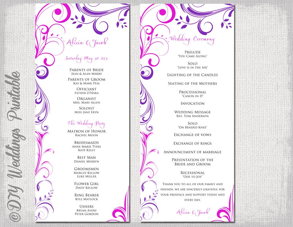 Wedding Program Template Purple  Fuchsia Pink