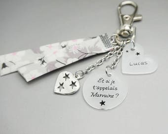 """porte clé liberty cabochon """"Et si je t'appelais Marraine"""" + prénom enfant - cadeau personnalisable - godmother gift"""