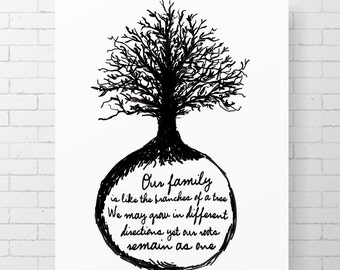 """INSTANT DOWNLOAD - Our family is like the branches of a tree. - CUSTOMIZABLE - 8"""" x 10"""" Digital Art Print"""