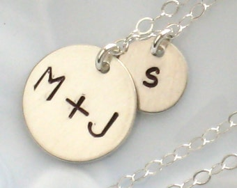 Mother's Day Gift • Family Initials Disc Necklace • Baby Makes 3 • Parent & Child • Personalized Family Jewelry • Mother Necklace • Mom Gift