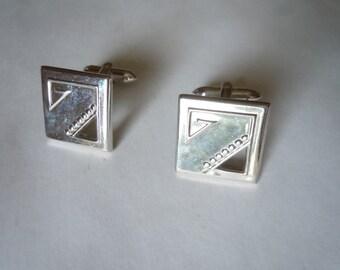 1950s Silver Art Deco Walker Cuff Links