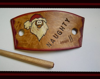 552 Santa Claus, LEATHER hair slide, stick barrette, bun holder, winter, Christmas, Naughty or Nice, stamped leather, wood stick