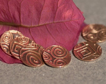 Disc Doodle Copper Blank 24g 12mm Polished Textured Blanks Shape - 8 Pieces