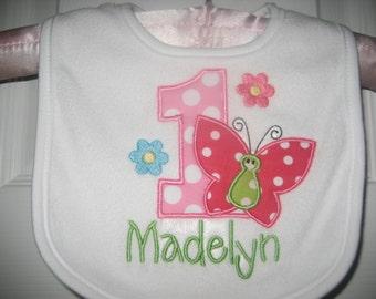Baby girls Birthday butterfly bib, butterfly bib, baby girls bib, monogrammed bib, pink, personalized, baby shower, cake smash