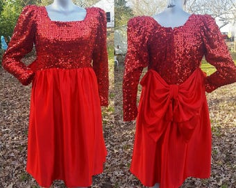 80s Cocktail Dress, Sequin Dress, Vintage Dress, Red Dress, 80s Party Dress, Party Dress, Hand Sewn Dress, 80s Costume, Vintage Costume