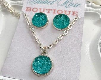 Druzy Earring and Necklace Set, Druzy Necklace, Druzy Earrings, Jewelry Set, Earring Set, Women's Necklace, Women's Earrings, Druzy Studs