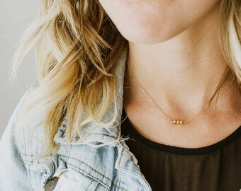 Tiny Gold Bead Necklace - Gold Filled Necklace - Dainty Gold Necklace - Rose Gold Necklace - Tiny Silver Necklace - Minimalist Necklace