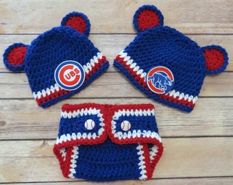 Cubs Crochet Hat Set, Newborn to 12 mo, photo props, MLB Cubs, baby shower gift, CUBS or BEAR patch on hat, Chicago Cubs
