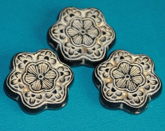 10 pcs of Vintage Acrylic flower beads 30mm Black with gold accent