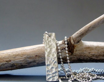 Sterling silver mens bar necklace , Hammered bar necklace, Mens jewelry