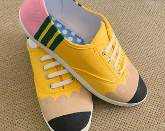 Pencil Shoes- Hand painted custom design