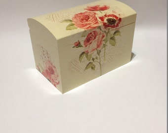 Wooden Box Decoupage Chest Keepsake Jewellery Trinket Box Christmas Gift Xmas Present Handcrafted