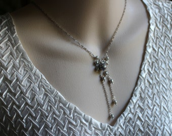 Pearl Necklace, Grey Freshwater Pearls, Crystal Accented Pearl, Real Pearl Jewelry, Bridal Jewelry, June Birthday, Mothers Day Gift