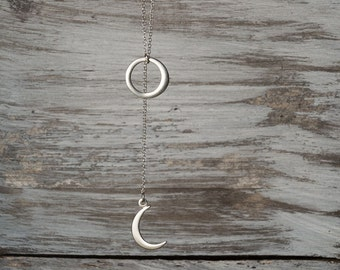 Crescent Moon Lariat Necklace Lariat Moon Necklace Circle Necklace Gift Sterling Silver Bridesmaid Gift Crescent Moon charm Birthday gift