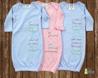 Monogrammed Baby Gown Set, Three Personalized Baby Gowns, Triplet Baby Gift, Baby Shower Gift for Triplets, Appliqué Baby Gowns