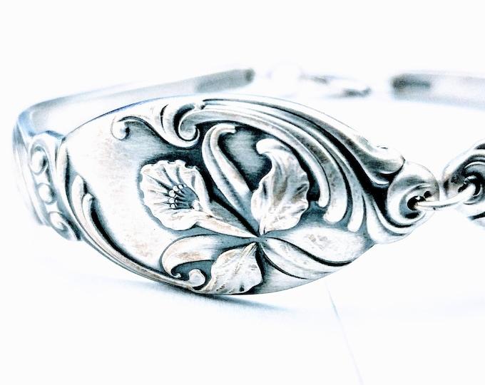 Orchid Bracelet, Bangle Bracelet, Sterling Silver Spoon Bracelet, Flower Bracelet, 14 Year Wedding Anniversary Gift, Bracelet Size 7 8 B7068