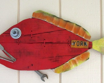 Fish,  Folk Art, Fish Art, Painted Fish, Wall Art, Beach House, Lake House, Cottage, Ocean, Up Cycled, Recycled