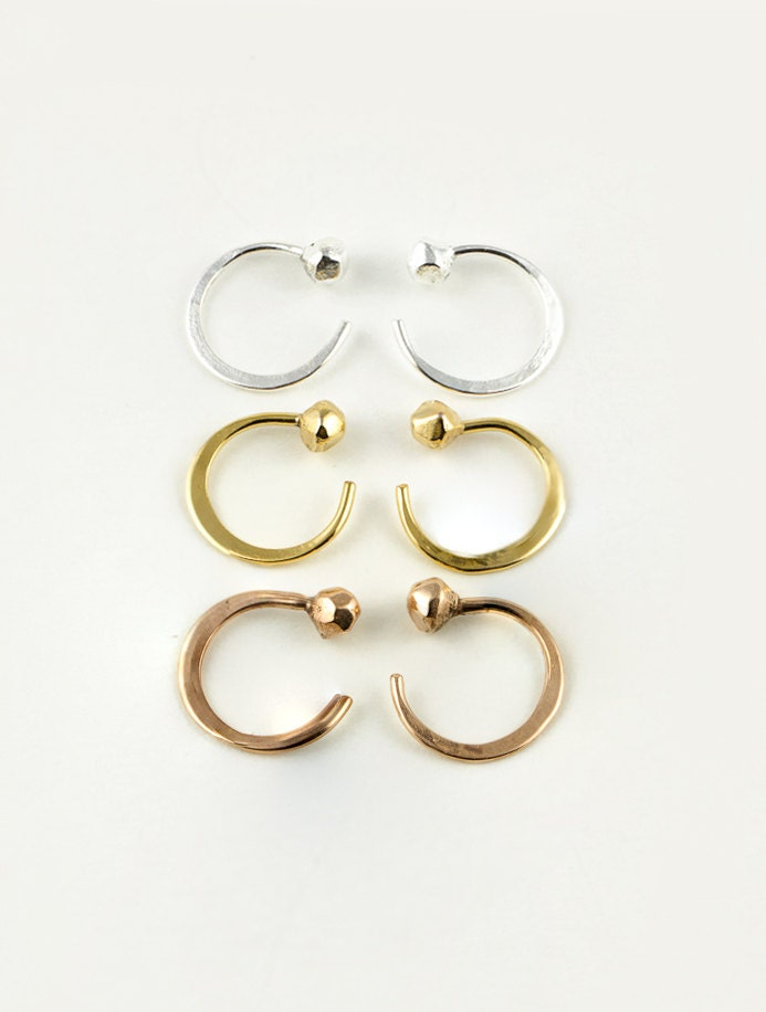 Tiny Hugging Hoops Sterling Silver Gold Plated Faceted Ball