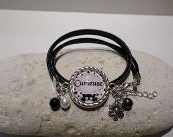 """Bracelet cabochon cat """"curious"""" stars leather jewelry gift girl teen fancy"""