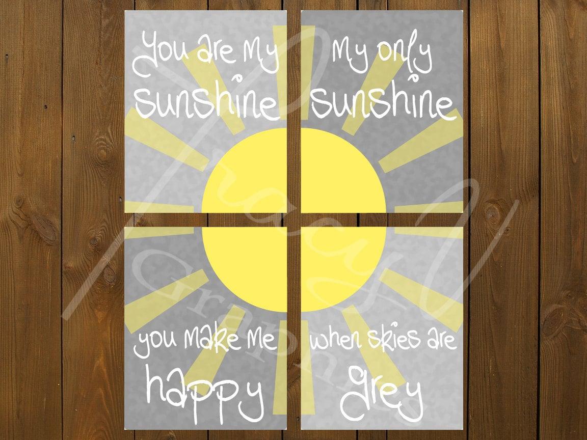 Wall Art You Are My Sunshine 4 Piece Set 8x10