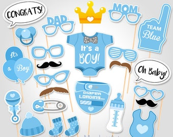 Baby Shower Photo Booth Props - Printable Photo Booth Props - It's a Boy Baby Photobooth Props - Team Blue Printable Party Props