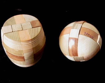 Vintage Japanese Wooden Puzzles 1960s The Barrel Puzzle & Sphere Marked Japan Brain Teasers