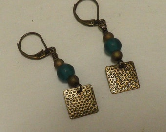 dangle EARRINGS, textured oxidized brass square and frosted Turquoise glass bead