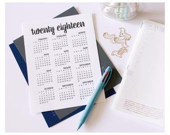 2018 Calendar - Desktop Calendar - A5 Planner Calendar - Modern Calligraphy Calendar - Bullet Journal Calendar - Desk Calendar - A5 Calendar