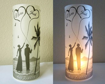 12 Personalized Wedding Centerpiece Luminaries Palmtree Seascape Table Decoration