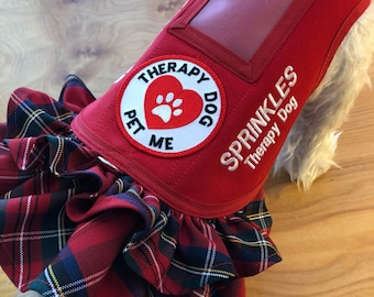 New Custom ruffle Therapy and Service Dog Vest Made in USA, dog vest, service vest