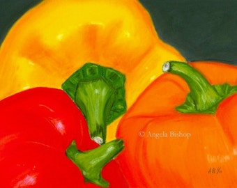 Still Life Painting, Original Painting, Peppers, Kitchen, Decor, Pastel, Original Art, Fine Art, Realism, Sale, Reduced Price