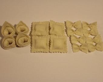 Assorted Felt Pasta - Bow Tie, Tortellini, or Ravioli