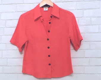 Vibrant Vintage Blood Orange Boho Linen Button-Down