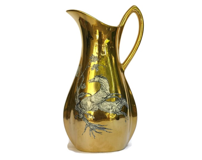 Mid Century Gold Luster Ceramic Pitcher with Horses. Pegasus by Crown Devon.