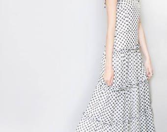 Vintage 1970's Monochrome Spot Print Tiered Maxi Dress