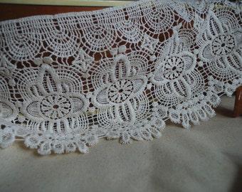 natural Cotton Lace Trim, vintage style trim Lace, crochet lace trim, ecru lace, 6.5 inches wide