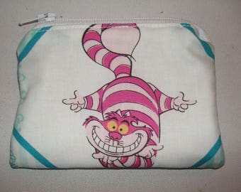 Alice Wonderland Cheshire cat handmade zipper fabric coin change purse card holder