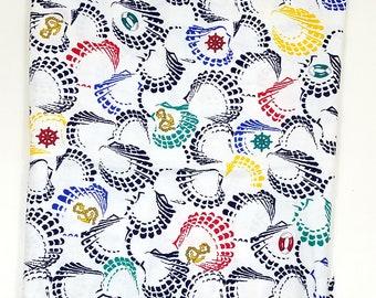 Bateau à coquillage nautique Wamsutta Vintage nouveauté tissu couleurs primaires 1,5 verges bleu marine rouge jaune bleu sarcelle ancre bateau Shell voile