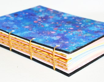 Hand bound Journal Coptic notebook - blue watercolour