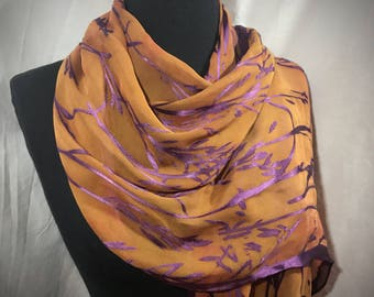 Orange and Purple//Bamboo Pattern//Satin//Burnout//Fringe//Silk Scarf