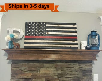 """36""""x19"""" Thin Red Line Rustic Flag"""