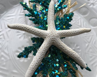 Napkin Ring Set- White Starfish  with Turquoise Sprigs and Gold Mesh Ribbon - housewarming-  Beach Wedding - seashore - shells