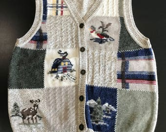 Vintage Northern Reflections Sweater Vest Womens M Duck Country Beige Sleeveless Cardigan Knit Ugly Costume Party Top Plaid Patchwork