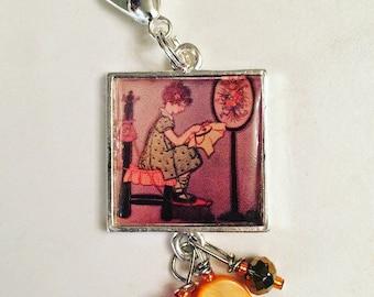 Girl Stitching Scissor Fob. Handmade by TheThreadGatherer. Embroidery Scissor Jewelry.