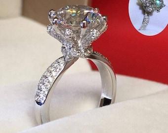 2 - Exquisite Silver EP 3 Carat Brilliant Round cz Diamond Solitaire Ring